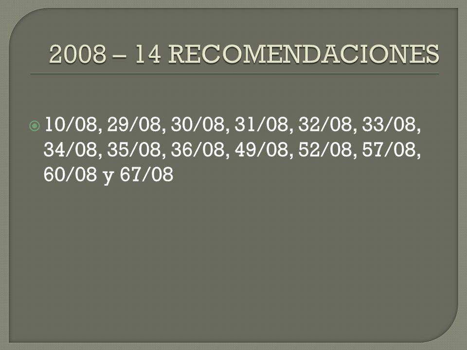 10/08, 29/08, 30/08, 31/08, 32/08, 33/08, 34/08, 35/08, 36/08, 49/08, 52/08, 57/08, 60/08 y 67/08