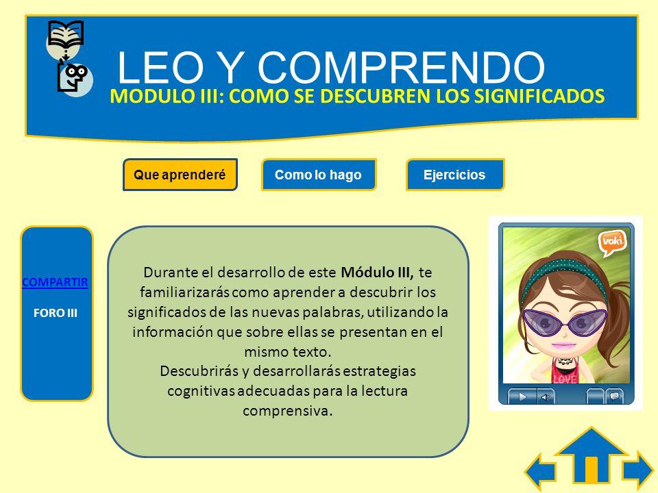 LEO Y COMPRENDO COMPARTIR FORO II Que aprenderéComo lo hagoEjercicios MODULO II: COMO SE NOMBRA LO YA MENCIONADO