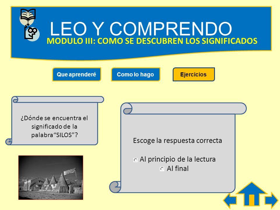 Lee el siguiente texto y descubre el significado de la palabraSILOS LEO Y COMPRENDO MODULO III: COMO SE DESCUBREN LOS SIGNIFICADOS Que aprenderéComo l