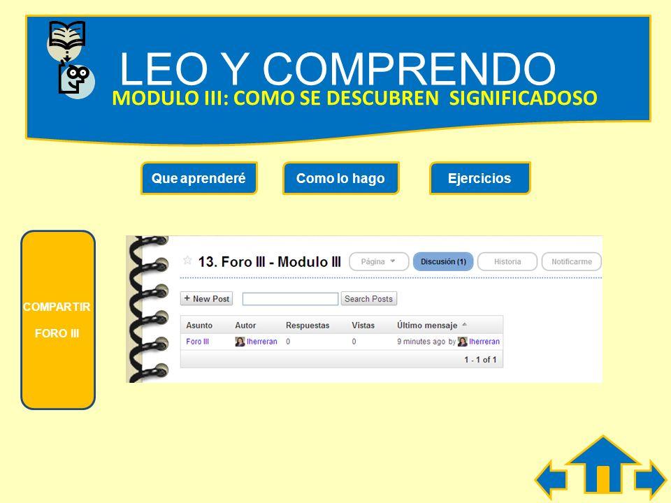 LEO Y COMPRENDO MODULO III: COMO SE DESCUBREN LOS SIGNIFICADOS Que aprenderéComo lo hagoEjercicios PARA RECORDAR! El significado de una palabra que de