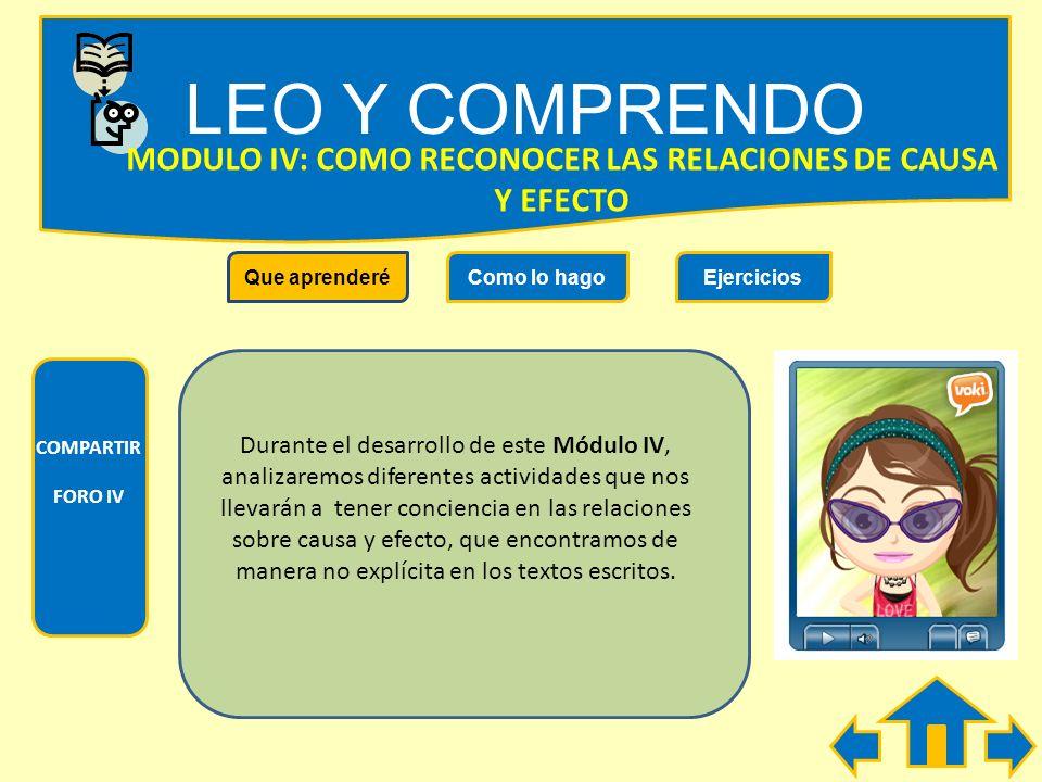 LEO Y COMPRENDO COMPARTIR FORO III Que aprenderéComo lo hagoEjercicios MODULO III: COMO SE DESCUBREN SIGNIFICADOSO