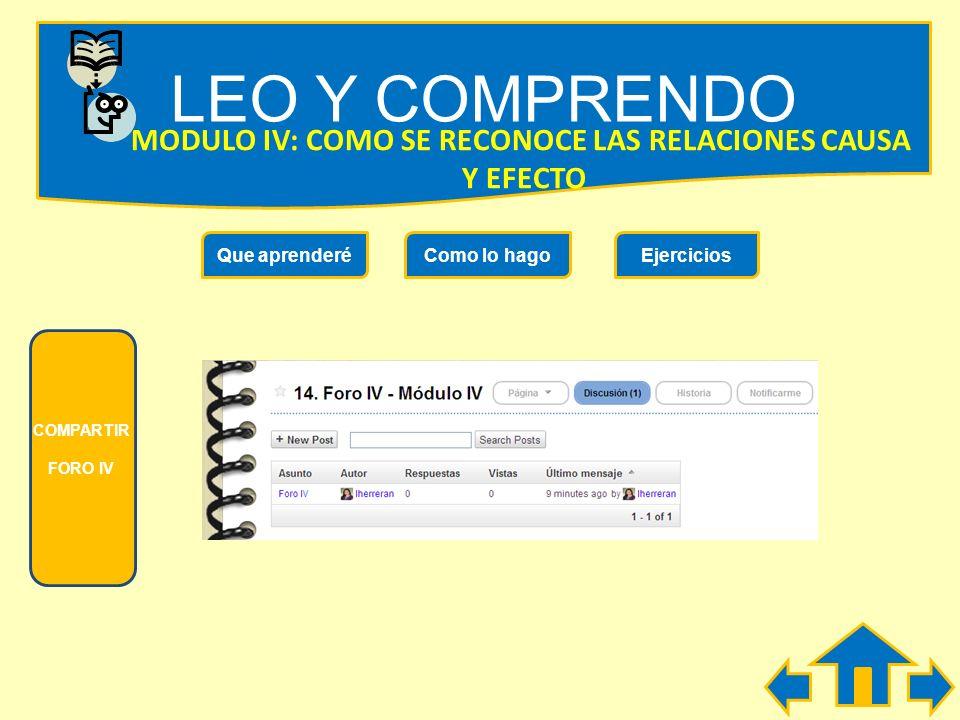 LEO Y COMPRENDO MODULO IV: COMO SE RECONOCE LAS RELACIONES CAUSA Y EFECTO Que aprenderéComo lo hagoEjercicios No usar el ascensor Prohibidas las visit