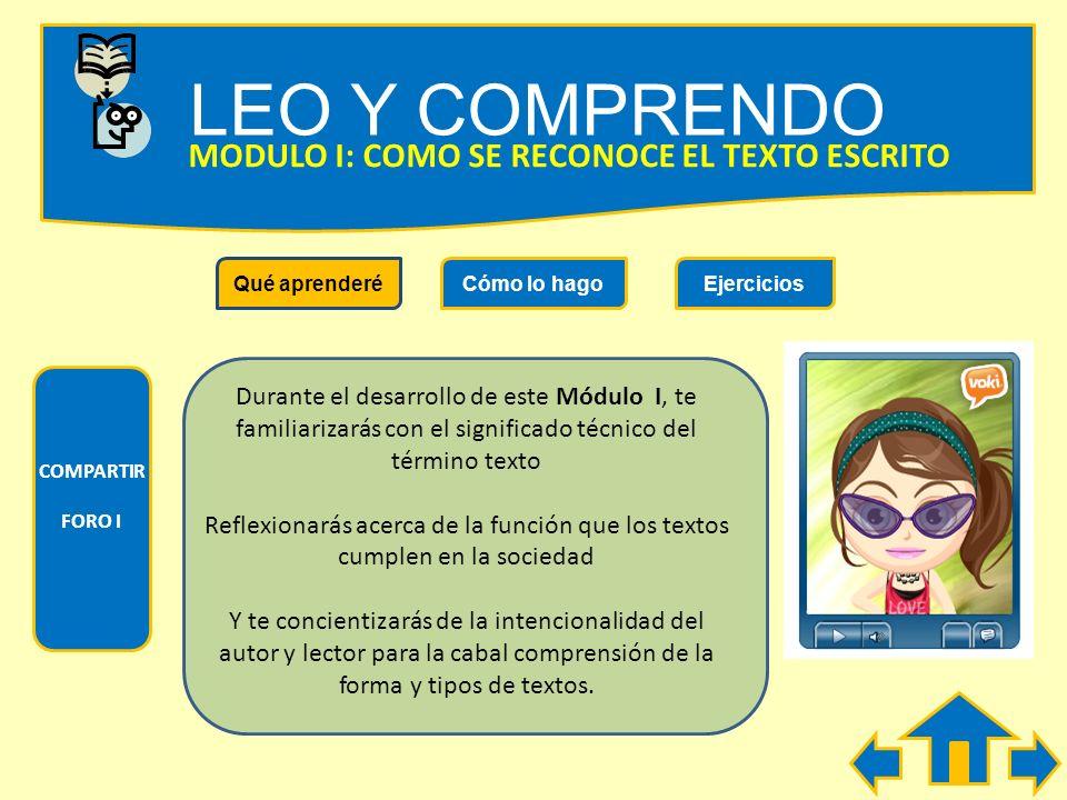 LEO Y COMPRENDO MÓDULOS DE ESTE CURSO Módulo 1: ¿Cómo se reconoce el texto escrito? Módulo 2: ¿Cómo se nombra lo ya mencionado? Módulo 3: ¿Cómo se des