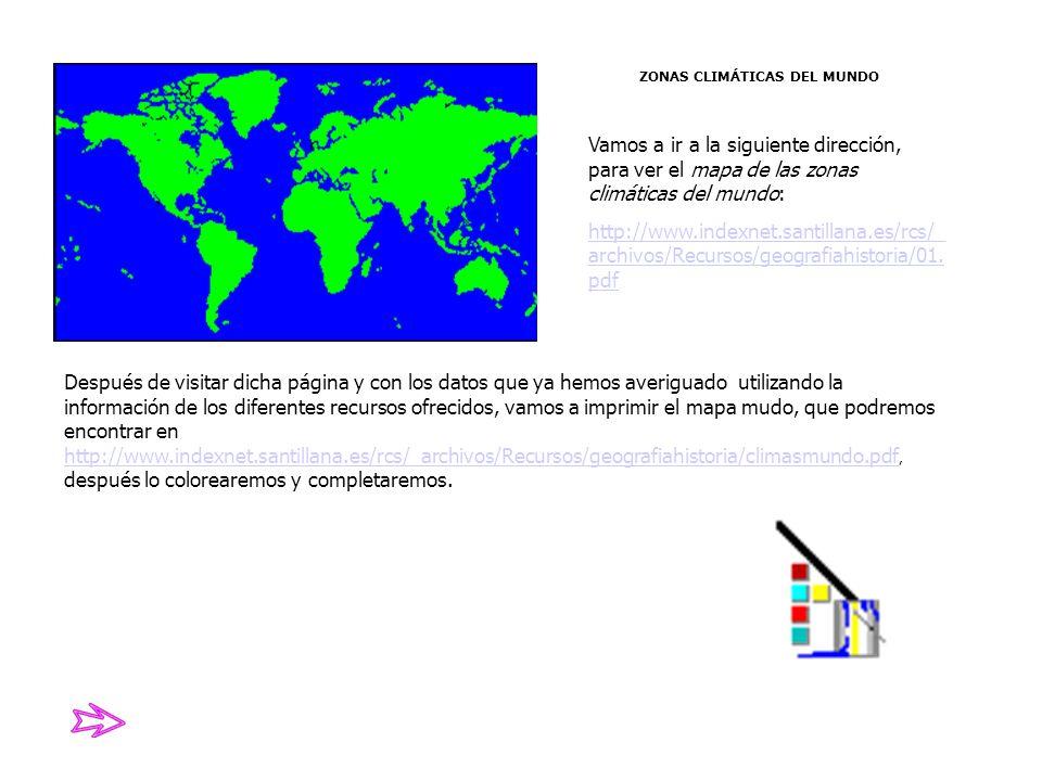 ZONAS CLIMÁTICAS DEL MUNDO Vamos a ir a la siguiente dirección, para ver el mapa de las zonas climáticas del mundo: http://www.indexnet.santillana.es/