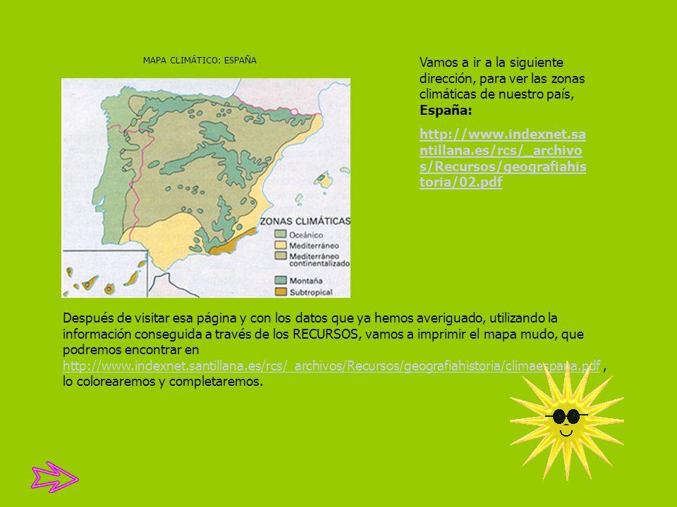 MAPA CLIMÁTICO: ESPAÑA Vamos a ir a la siguiente dirección, para ver las zonas climáticas de nuestro país, España: http://www.indexnet.sa ntillana.es/