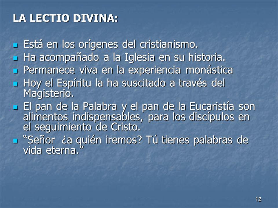 12 LA LECTIO DIVINA: Está en los orígenes del cristianismo. Está en los orígenes del cristianismo. Ha acompañado a la Iglesia en su historia. Ha acomp