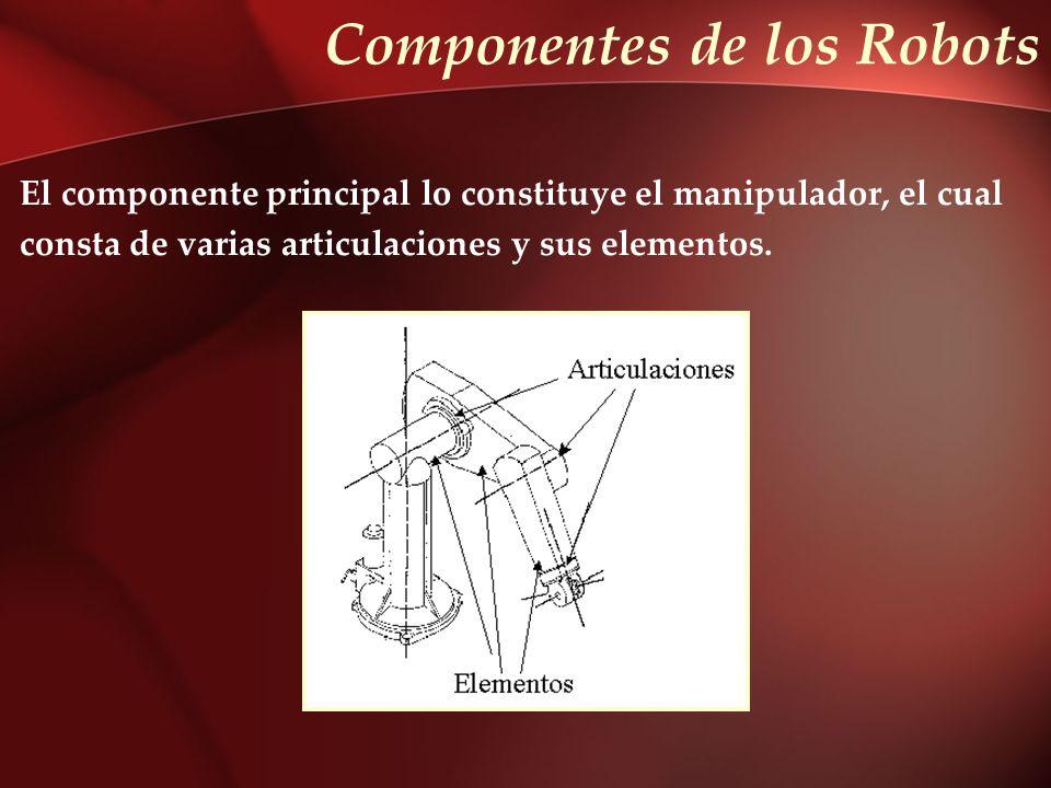 Componentes de los Robots El componente principal lo constituye el manipulador, el cual consta de varias articulaciones y sus elementos.