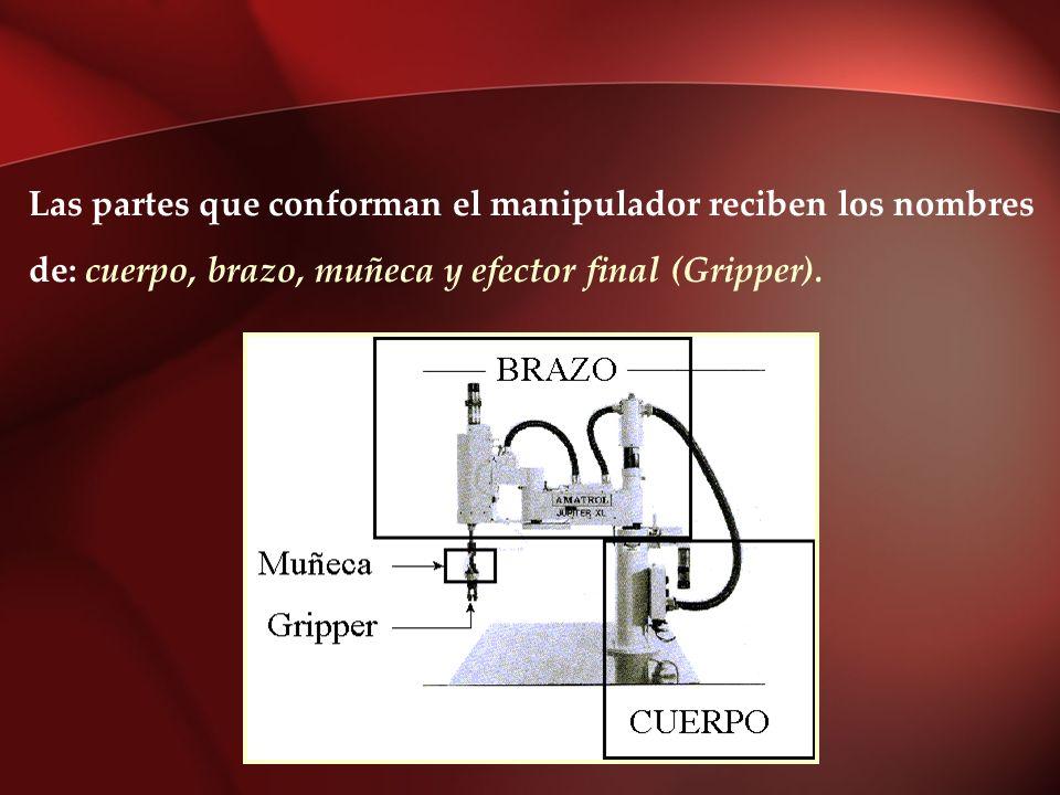 Las partes que conforman el manipulador reciben los nombres de: cuerpo, brazo, muñeca y efector final (Gripper).