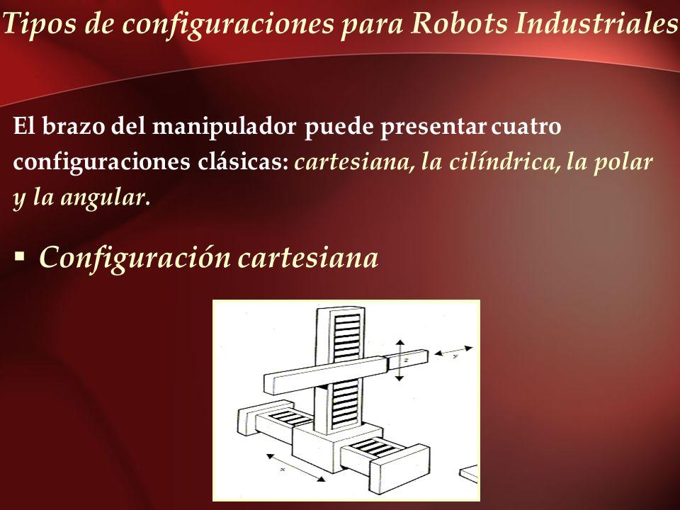Tipos de configuraciones para Robots Industriales El brazo del manipulador puede presentar cuatro configuraciones clásicas: cartesiana, la cilíndrica,