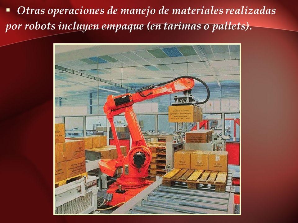 Otras operaciones de manejo de materiales realizadas por robots incluyen empaque (en tarimas o pallets).