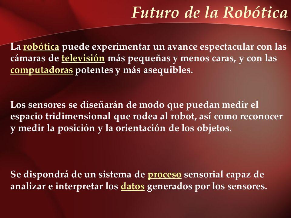 Futuro de la Robótica La robótica puede experimentar un avance espectacular con lasrobótica cámaras de televisión más pequeñas y menos caras, y con la