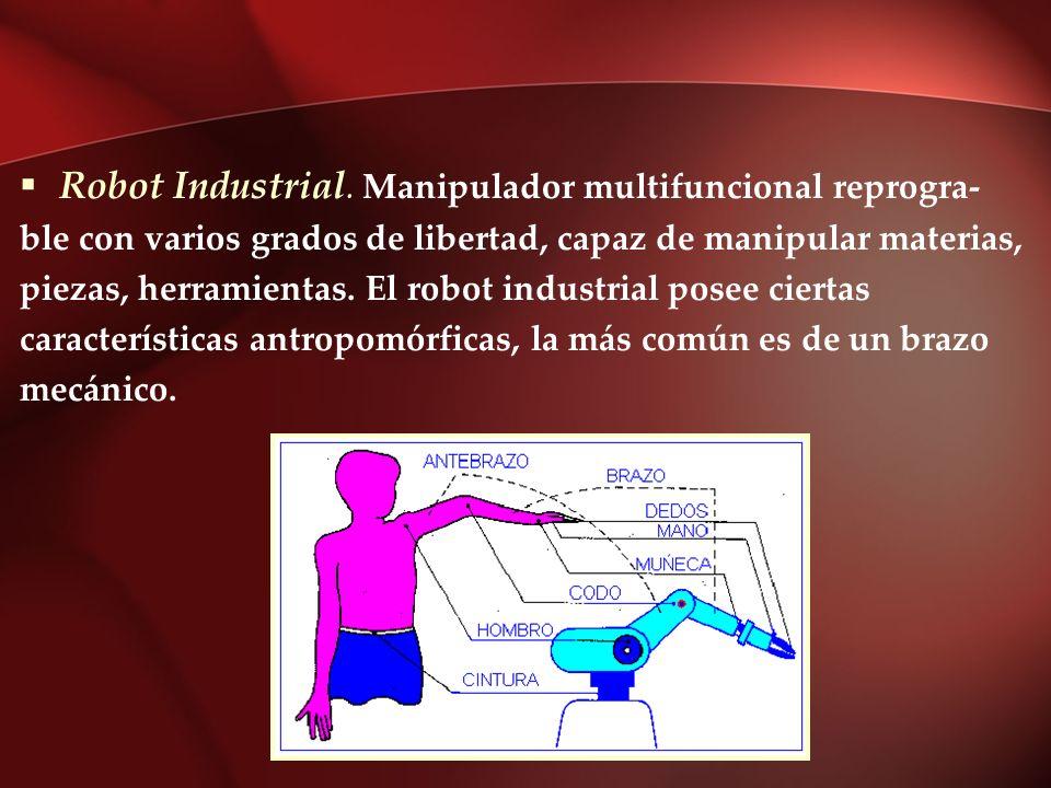 Robot Industrial. Manipulador multifuncional reprogra- ble con varios grados de libertad, capaz de manipular materias, piezas, herramientas. El robot