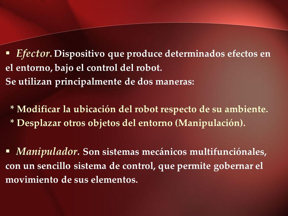 Efector. Dispositivo que produce determinados efectos en el entorno, bajo el control del robot. Se utilizan principalmente de dos maneras: * Modificar