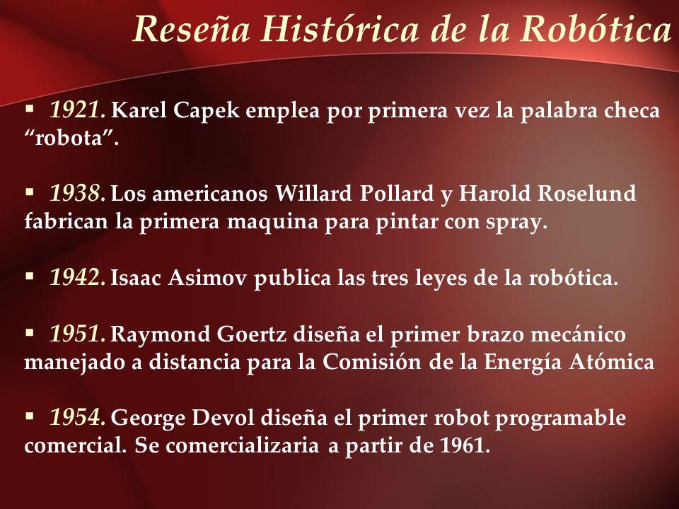 Reseña Histórica de la Robótica 1921. Karel Capek emplea por primera vez la palabra checa robota. 1938. Los americanos Willard Pollard y Harold Roselu