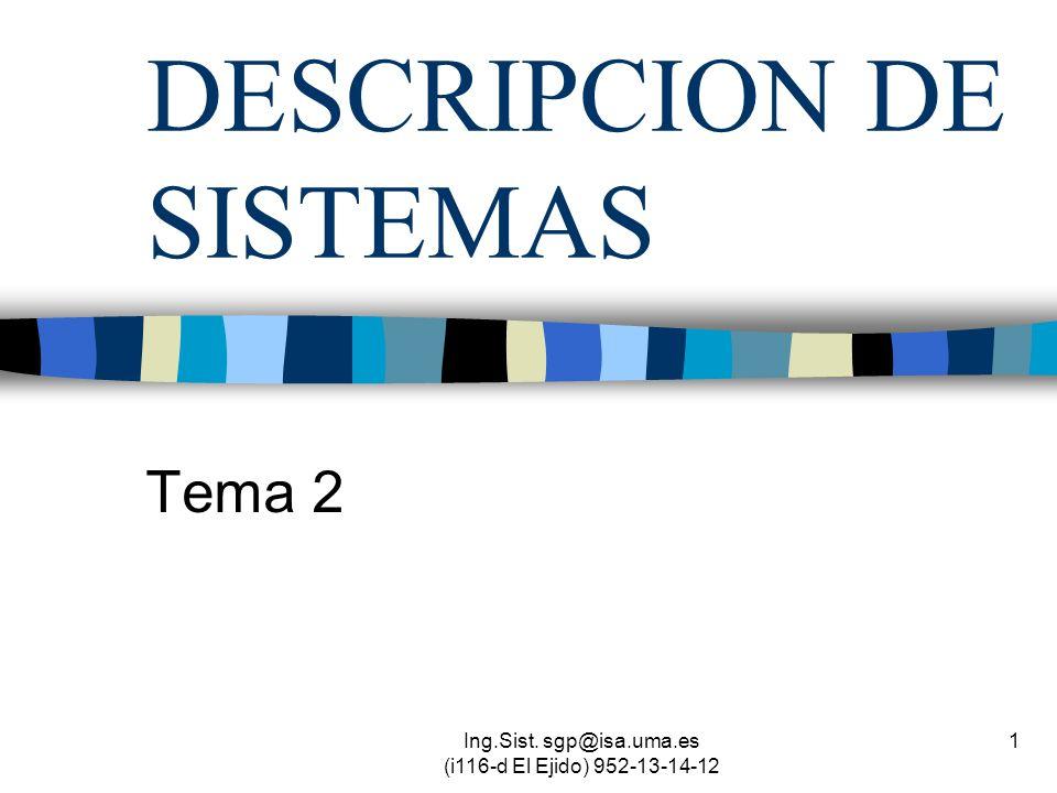 Ing.Sist. sgp@isa.uma.es (i116-d El Ejido) 952-13-14-12 1 DESCRIPCION DE SISTEMAS Tema 2