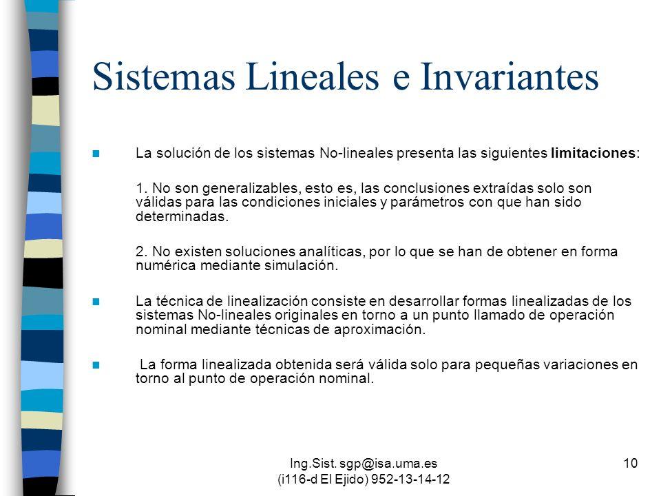 Ing.Sist. sgp@isa.uma.es (i116-d El Ejido) 952-13-14-12 10 Sistemas Lineales e Invariantes La solución de los sistemas No-lineales presenta las siguie