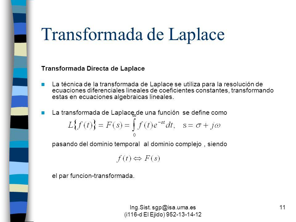 Ing.Sist. sgp@isa.uma.es (i116-d El Ejido) 952-13-14-12 11 Transformada de Laplace Transformada Directa de Laplace La técnica de la transformada de La