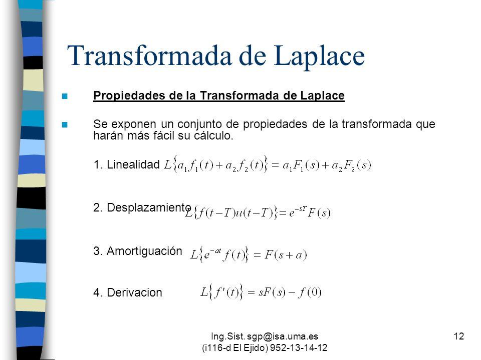 Ing.Sist. sgp@isa.uma.es (i116-d El Ejido) 952-13-14-12 12 Transformada de Laplace Propiedades de la Transformada de Laplace Se exponen un conjunto de