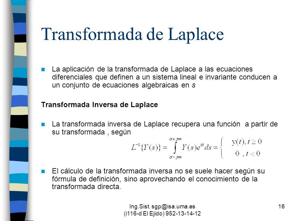 Ing.Sist. sgp@isa.uma.es (i116-d El Ejido) 952-13-14-12 16 Transformada de Laplace La aplicación de la transformada de Laplace a las ecuaciones difere
