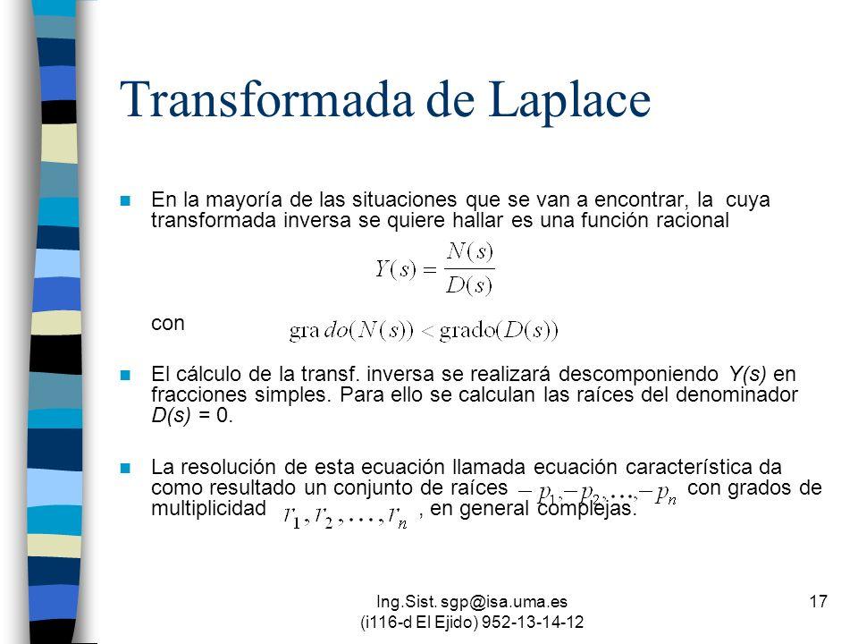 Ing.Sist. sgp@isa.uma.es (i116-d El Ejido) 952-13-14-12 17 Transformada de Laplace En la mayoría de las situaciones que se van a encontrar, la cuya tr