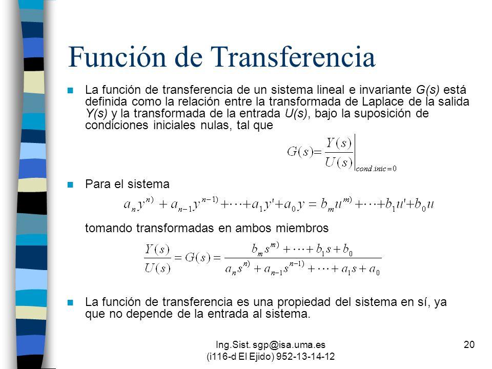 Ing.Sist. sgp@isa.uma.es (i116-d El Ejido) 952-13-14-12 20 Función de Transferencia La función de transferencia de un sistema lineal e invariante G(s)