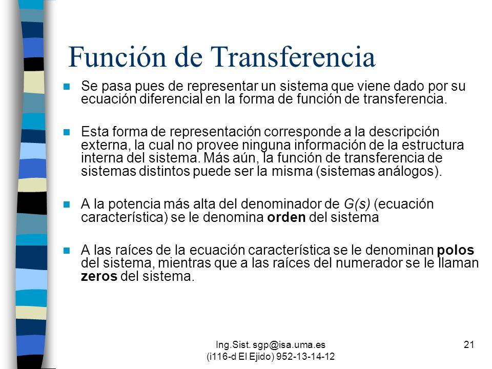 Ing.Sist. sgp@isa.uma.es (i116-d El Ejido) 952-13-14-12 21 Función de Transferencia Se pasa pues de representar un sistema que viene dado por su ecuac
