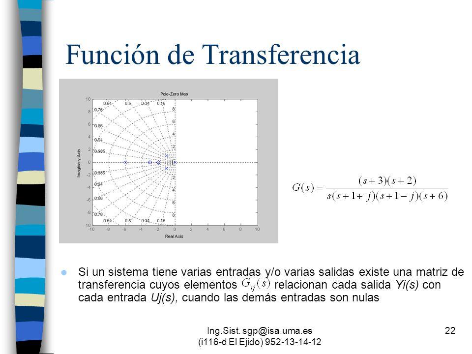 Ing.Sist. sgp@isa.uma.es (i116-d El Ejido) 952-13-14-12 22 Función de Transferencia Si un sistema tiene varias entradas y/o varias salidas existe una