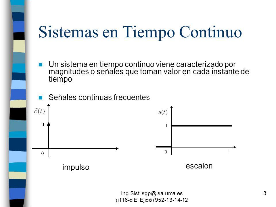 Ing.Sist. sgp@isa.uma.es (i116-d El Ejido) 952-13-14-12 3 Sistemas en Tiempo Continuo Un sistema en tiempo continuo viene caracterizado por magnitudes