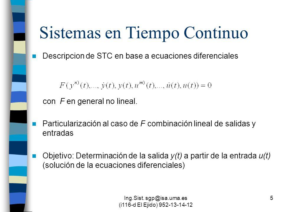 Ing.Sist. sgp@isa.uma.es (i116-d El Ejido) 952-13-14-12 5 Sistemas en Tiempo Continuo Descripcion de STC en base a ecuaciones diferenciales con F en g