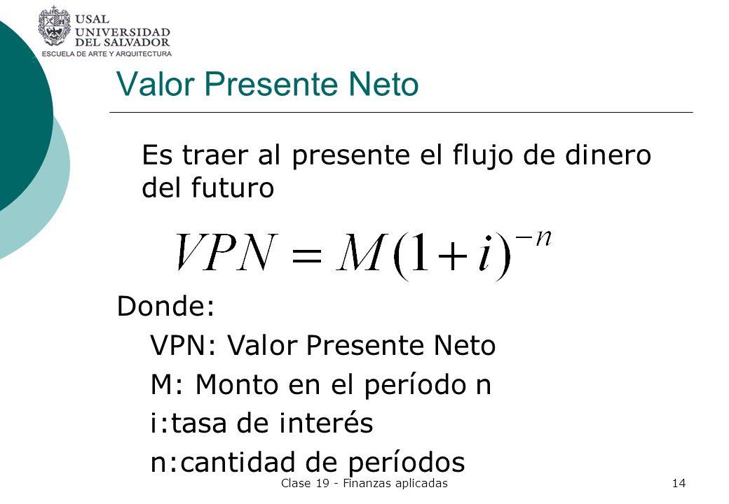 Clase 19 - Finanzas aplicadas14 Valor Presente Neto Es traer al presente el flujo de dinero del futuro Donde: VPN: Valor Presente Neto M: Monto en el