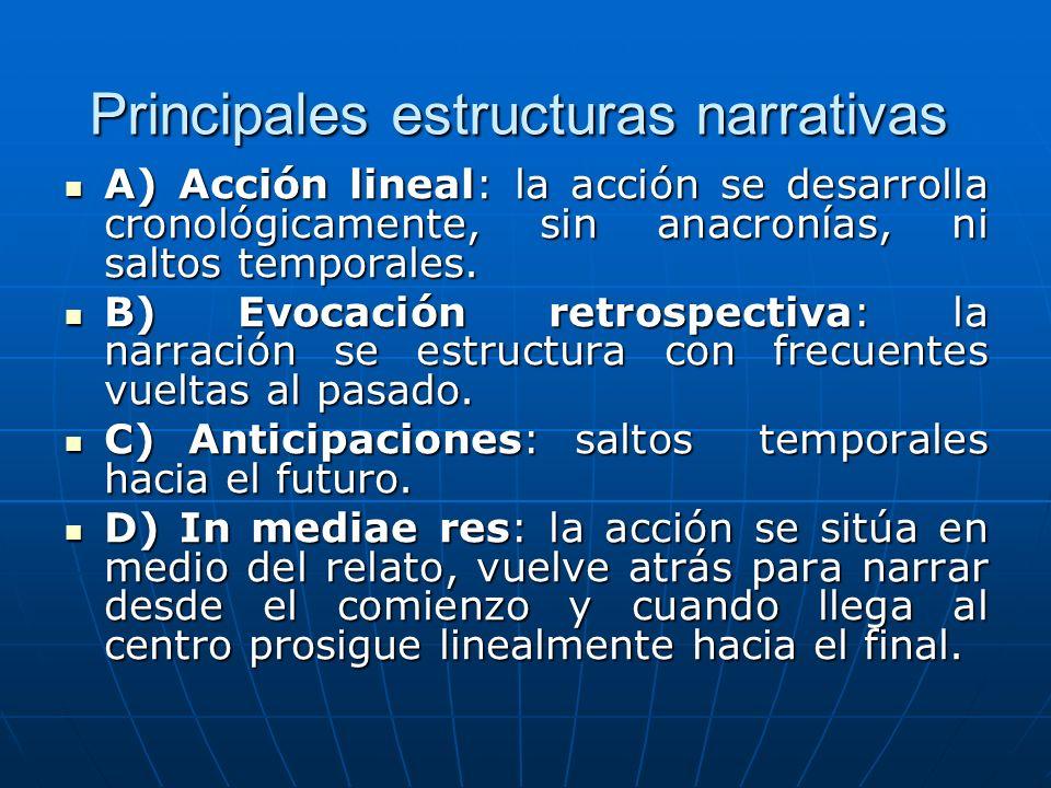 Principales estructuras narrativas A) Acción lineal: la acción se desarrolla cronológicamente, sin anacronías, ni saltos temporales. A) Acción lineal: