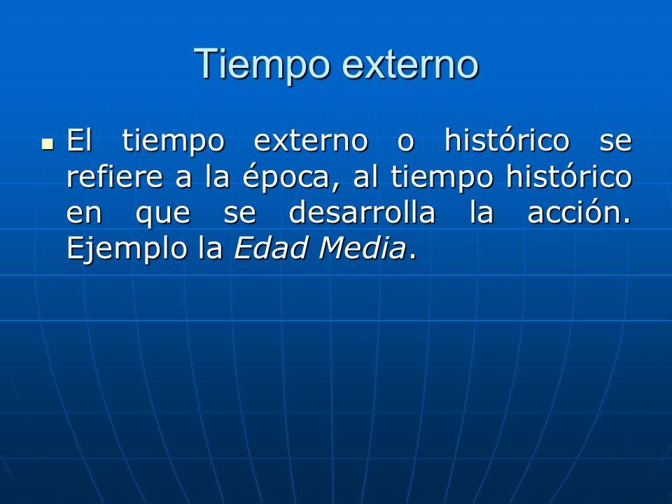 Tiempo externo El tiempo externo o histórico se refiere a la época, al tiempo histórico en que se desarrolla la acción. Ejemplo la Edad Media. El tiem