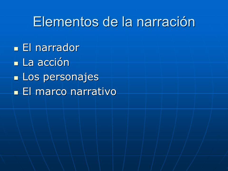 Elementos de la narración El narrador El narrador La acción La acción Los personajes Los personajes El marco narrativo El marco narrativo