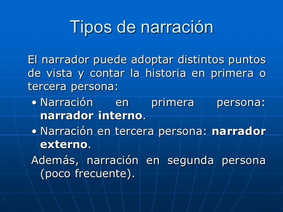 Tipos de narración El narrador puede adoptar distintos puntos de vista y contar la historia en primera o tercera persona: Narración en primera persona