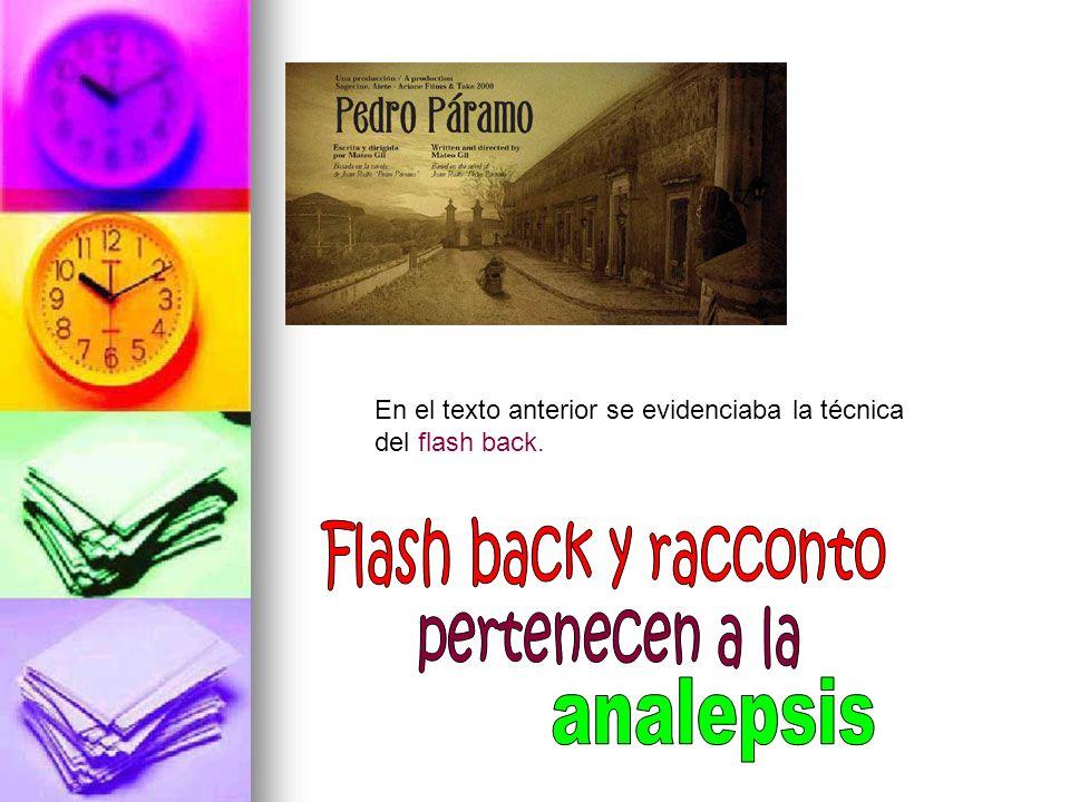 En el texto anterior se evidenciaba la técnica del flash back.