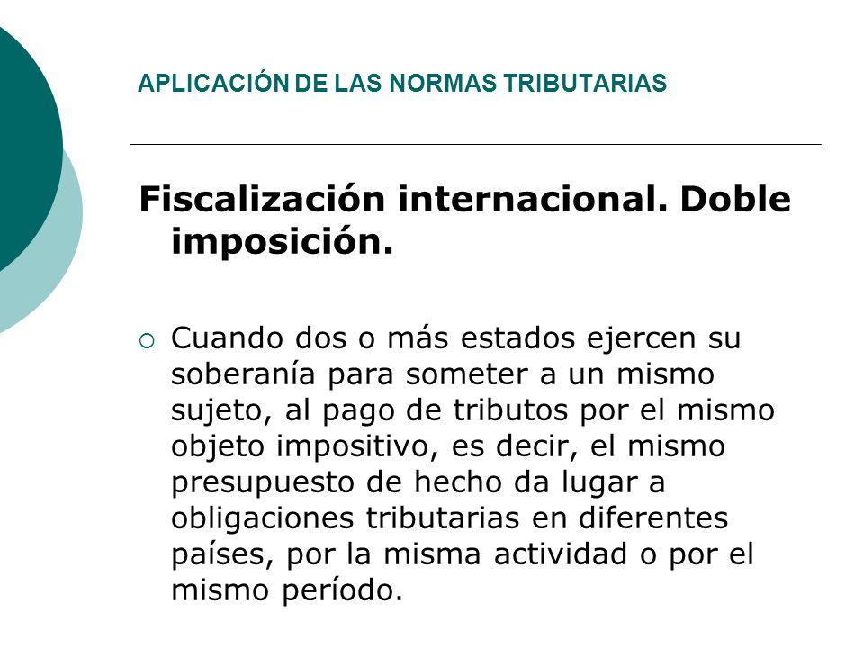APLICACIÓN DE LAS NORMAS TRIBUTARIAS Fiscalización internacional.