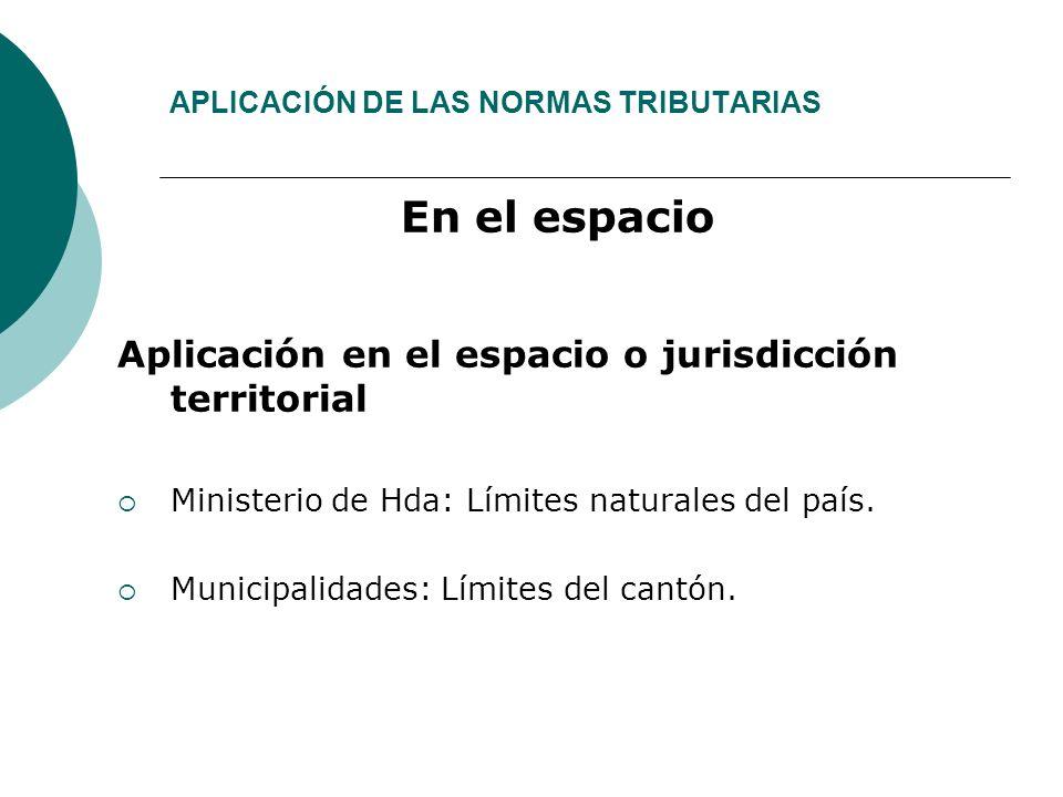 APLICACIÓN DE LAS NORMAS TRIBUTARIAS En el espacio Aplicación en el espacio o jurisdicción territorial Ministerio de Hda: Límites naturales del país.