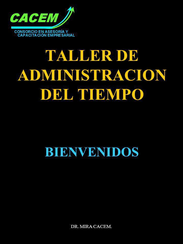 DR. MIRA CACEM. TALLER DE ADMINISTRACION DEL TIEMPO BIENVENIDOS