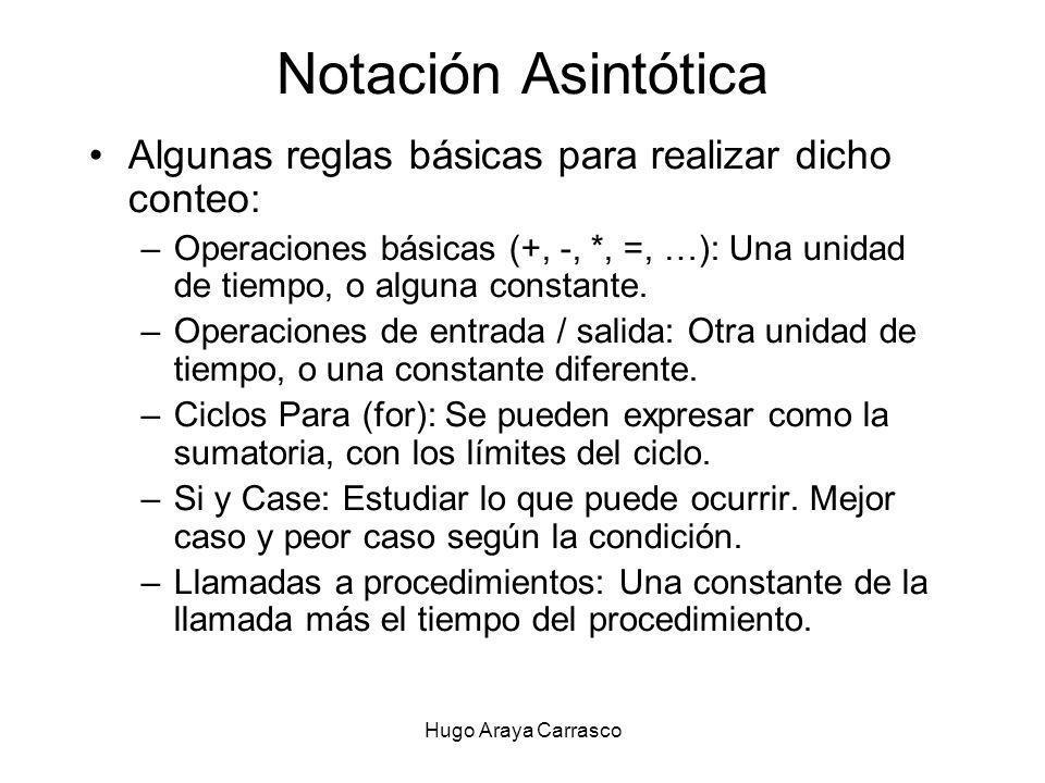 Hugo Araya Carrasco Notación Asintótica Algunas reglas básicas para realizar dicho conteo: –Operaciones básicas (+, -, *, =, …): Una unidad de tiempo, o alguna constante.