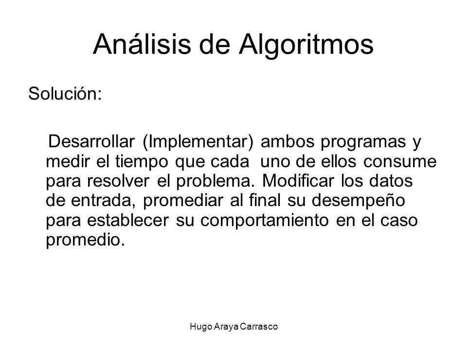 Hugo Araya Carrasco Análisis de Algoritmos Solución: Desarrollar (Implementar) ambos programas y medir el tiempo que cada uno de ellos consume para resolver el problema.