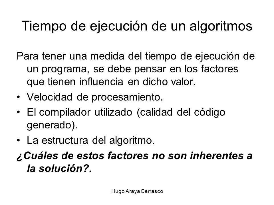 Hugo Araya Carrasco Tiempo de ejecución de un algoritmos Para tener una medida del tiempo de ejecución de un programa, se debe pensar en los factores que tienen influencia en dicho valor.