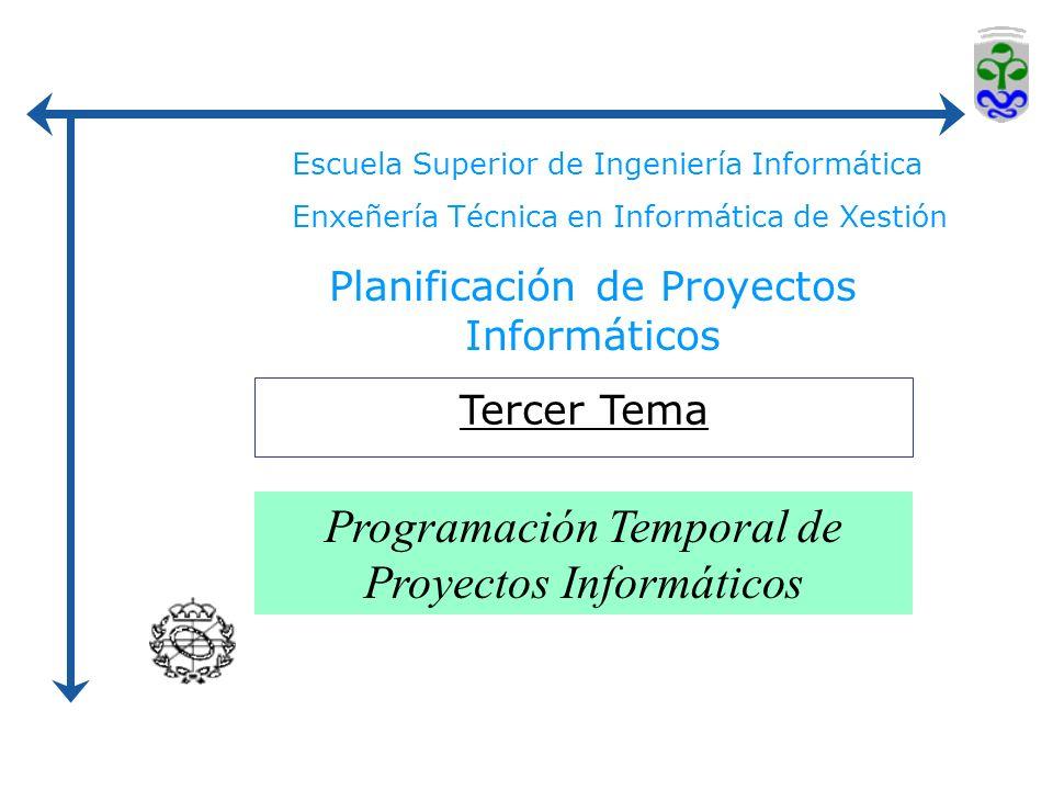 Escuela Superior de Ingeniería Informática Enxeñería Técnica en Informática de Xestión Planificación de Proyectos Informáticos Tercer Tema Programación Temporal de Proyectos Informáticos