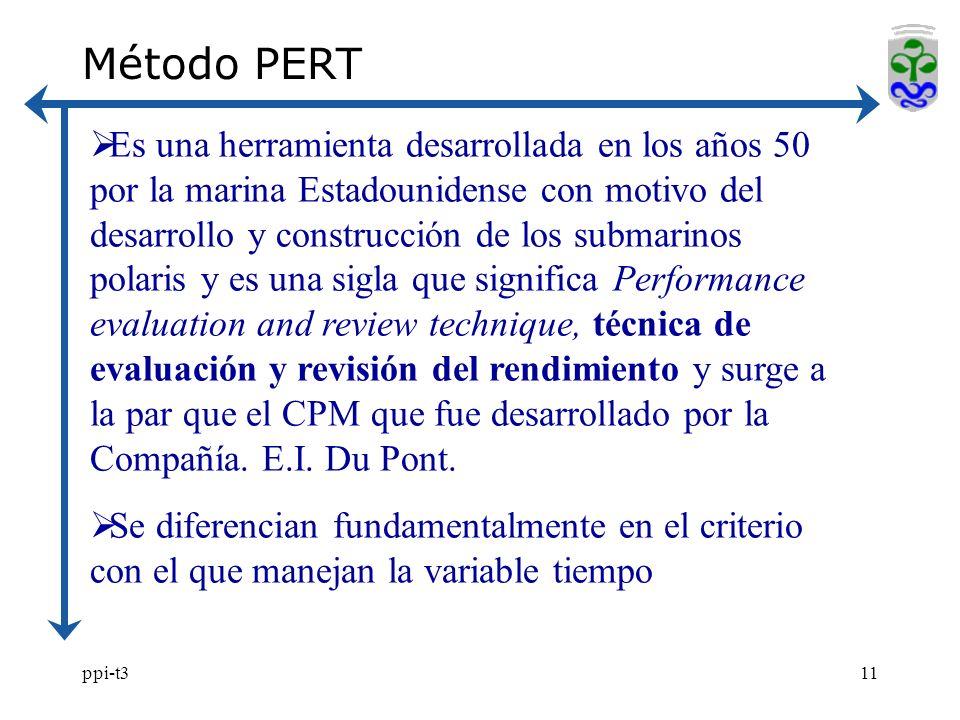 ppi-t311 Método PERT Es una herramienta desarrollada en los años 50 por la marina Estadounidense con motivo del desarrollo y construcción de los submarinos polaris y es una sigla que significa Performance evaluation and review technique, técnica de evaluación y revisión del rendimiento y surge a la par que el CPM que fue desarrollado por la Compañía.