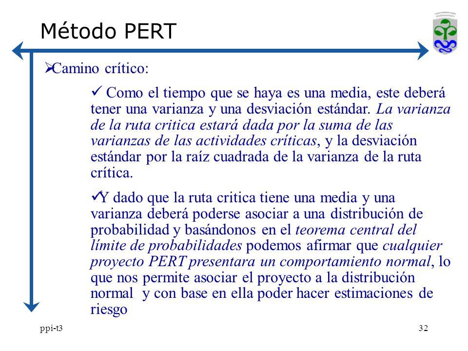 ppi-t332 Método PERT Camino crítico: Como el tiempo que se haya es una media, este deberá tener una varianza y una desviación estándar. La varianza de