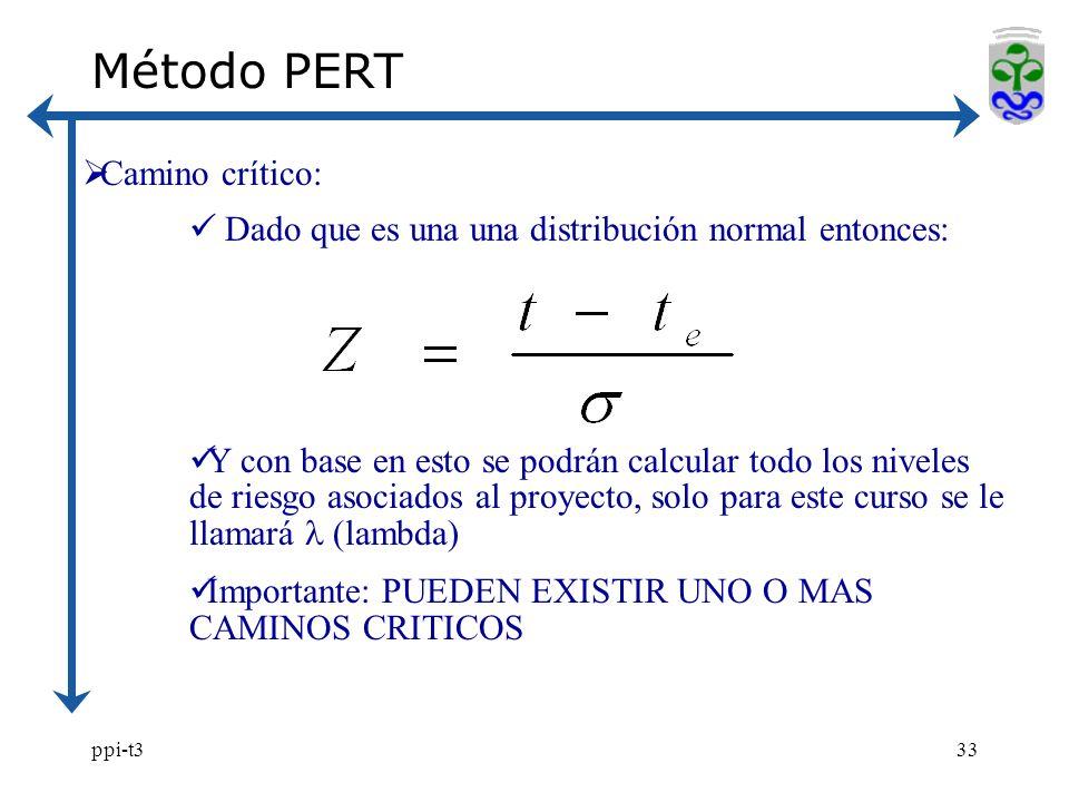 ppi-t333 Método PERT Camino crítico: Dado que es una una distribución normal entonces: Y con base en esto se podrán calcular todo los niveles de riesg