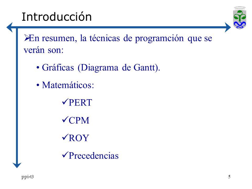 ppi-t35 En resumen, la técnicas de programción que se verán son: Gráficas (Diagrama de Gantt). Matemáticos: PERT CPM ROY Precedencias Introducción