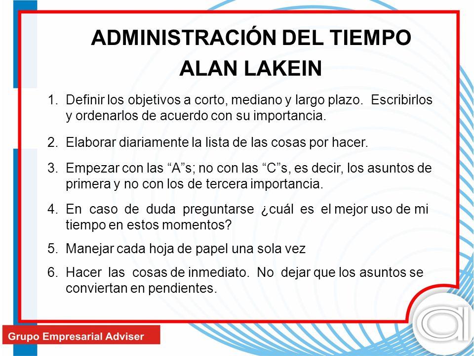 ADMINISTRACIÓN DEL TIEMPO ALAN LAKEIN 1. Definir los objetivos a corto, mediano y largo plazo. Escribirlos y ordenarlos de acuerdo con su importancia.