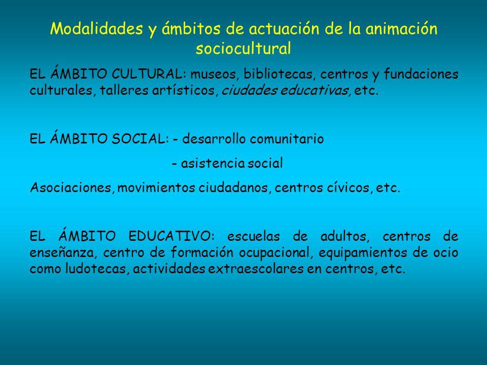 Modalidades y ámbitos de actuación de la animación sociocultural EL ÁMBITO CULTURAL: museos, bibliotecas, centros y fundaciones culturales, talleres a