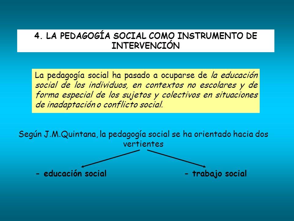 4. LA PEDAGOGÍA SOCIAL COMO INSTRUMENTO DE INTERVENCIÓN La pedagogía social ha pasado a ocuparse de la educación social de los individuos, en contexto