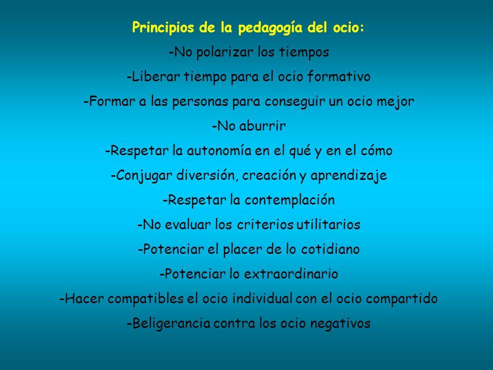 Principios de la pedagogía del ocio: -No polarizar los tiempos -Liberar tiempo para el ocio formativo -Formar a las personas para conseguir un ocio me